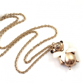 Fashion Golden Bowknot Little Bear Pendant Chain Necklaces