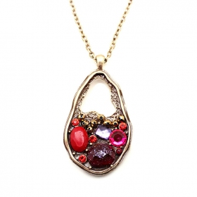 Vintage Multi-color Rhinestone Pendant Chain Long Necklaces