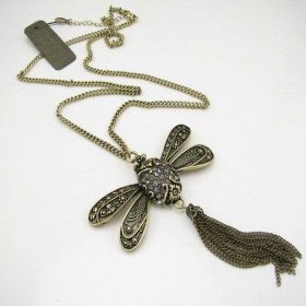 Antique Dragonfly Long Chain Necklace