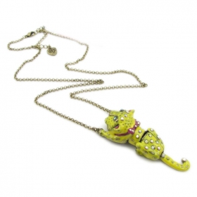 Lovely Yellow Tiger Pendant Chain Necklace