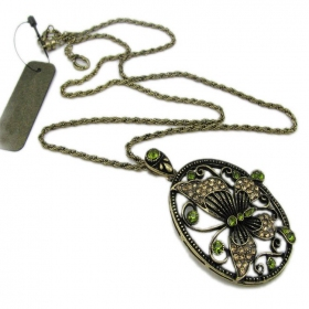 Old Fashioned Green Rhinestone Butterfly Pendant Long Chain Necklace