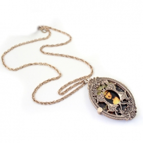 Vintage Monalisa 3 Side Long Locket Necklace