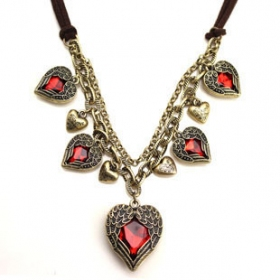 old necklace five heart red pendant rhinestone fashion wing