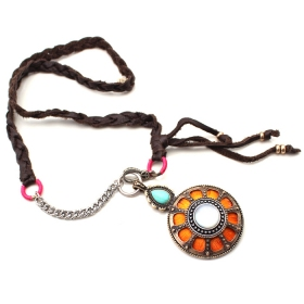 National Orange Circle Pendant Leather Chain Necklace