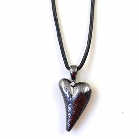 Heart Alloy Rhinestone Black Leather Pendant Necklace