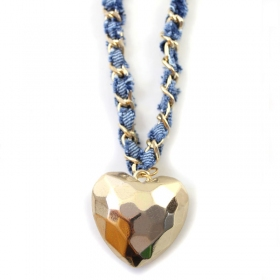 Gold Plated Alloy Heart Blue Ribbon Chain Necklace