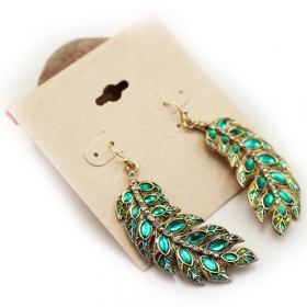Vintage Green Leaf Dangle Earrings