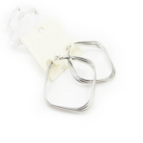 Bold Fashion White Leverback Hoop Earrings