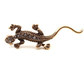 Vintage Gold Lizard Drop Earrings