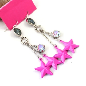 Fashion Pink Stars Long Drop Dangle Earrings