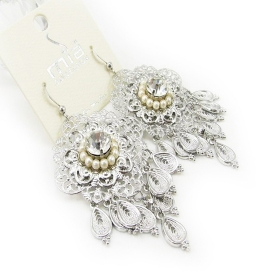 Fashion Silver Rhinestone Dangle Chandelier Earrings