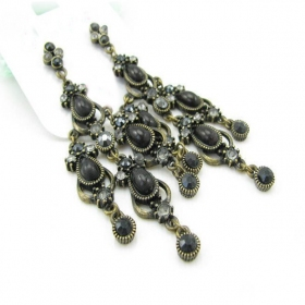 Vintage Black Rhinestone Drop Chandelier Earrings