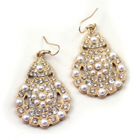 Fashion Golden Pearl Droplet Dangle Earrings