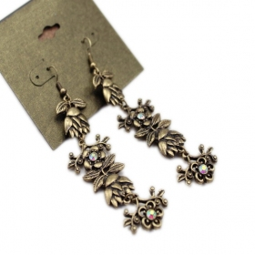Vintage Bronze Flower Rhinestone Long Drop Dangle Earrings