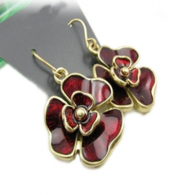 Fashion Color Ceramic Red Flower Dangle Earrings