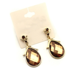 Fashion Large Golden Rhinestone Dangle Earrings
