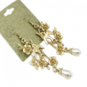 Luxury Golden Flower Swallow Drop Dangle Earrings