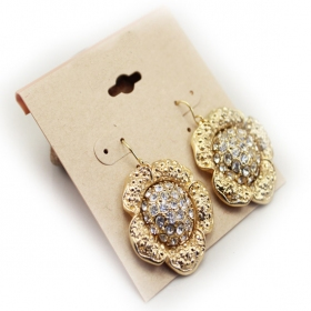 Bold Fashion Golden Rhinestones Dangle Hoop Earrings