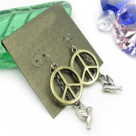 Vintage Peace Dove Dangle Earrings