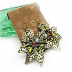 Vintage Rhinestone Flower Dangle Earrings