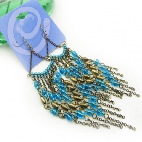 Vintage Bronze Blue Tassel Drop Dangle Earrings