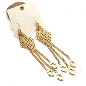 Fashion Golden Rhombus Long Dangle Drop Earrings