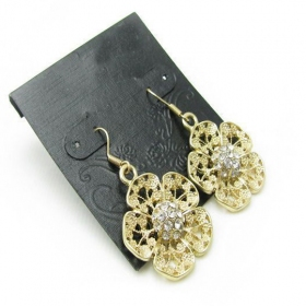 Bold Fashion Golden Flower Rhinestone Dangle Earrings