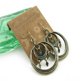 Vintage Double Circles Dangle Hoop Earrings