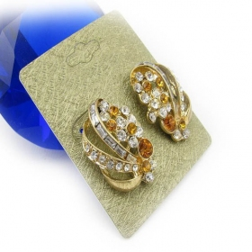Luxury Golden Rhinestone Stud Earrings