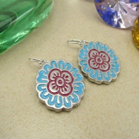 Vintage Blue Flower Dangle Hoop Earrings