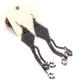 Fashion Black Rhombus Drop Earrings