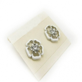 Fashion White Transparent Flower Stud Earrings