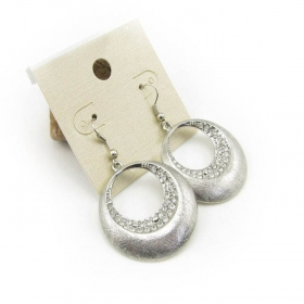 Vintage Silver Rhinestone Dangle Hoop Earrings