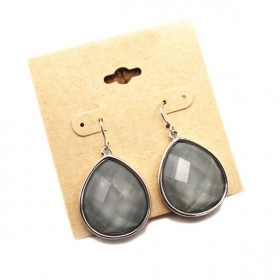 Elegant Gray Rhinestone Dangle Earrings