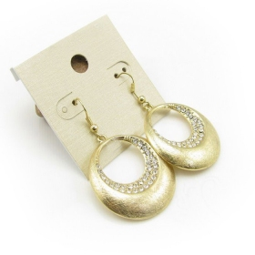 Vintage Golden Rhinestone Dangle Hoop Earrings