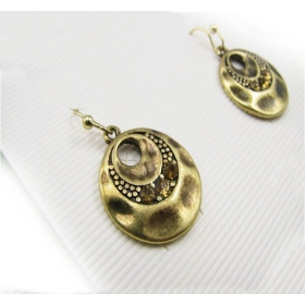 Vintage Bronze Hoop Dangle Earrings