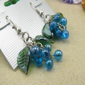 Vintage Blue Grapes Dangle Earrings