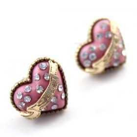 Fashion Lovely Pink Heart Stud Earrings