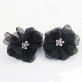 Fashion Fabric Flower Pearl Stud Earring