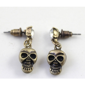 Vintage Bronze Skull Drop Earring
