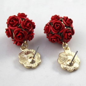 Fashion Golden Rose Flower Ball Drop Earring