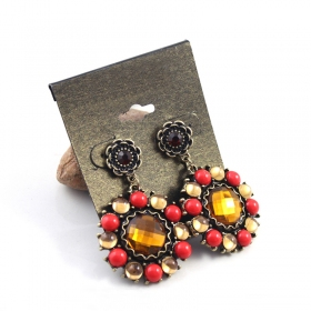 Vintage Golden Alloy Gem Round Drop Earring