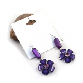 Fashionable Purple Flower Rhinestone Drop Earring
