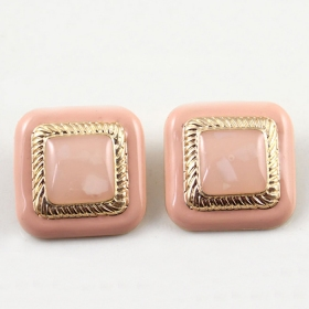 Simple Pink Square Gold Plated Alloy Stud Earrings