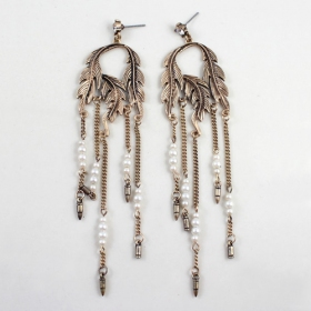 Vintage Golden Leaf Pearl Tassel Drop Earrings