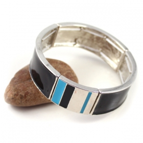 Fashion Black Stripe Elastic Bangle Bracelets
