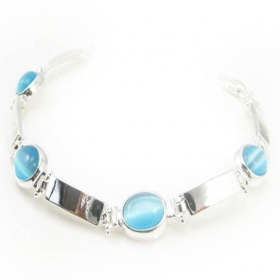 Fashion Simple Blue Opal Link Bracelets