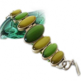 Fashion Green Rhinestone Link Bracelets