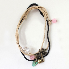 Multi-layer Fashion Dragonfly Ribbon String Bracelet