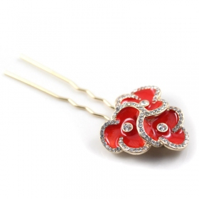 Elegant Red Flower Rhinestone Silver Plated Brooch